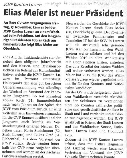 Anzeiger Michelsamt: Elias Meier ist neuer Präsident