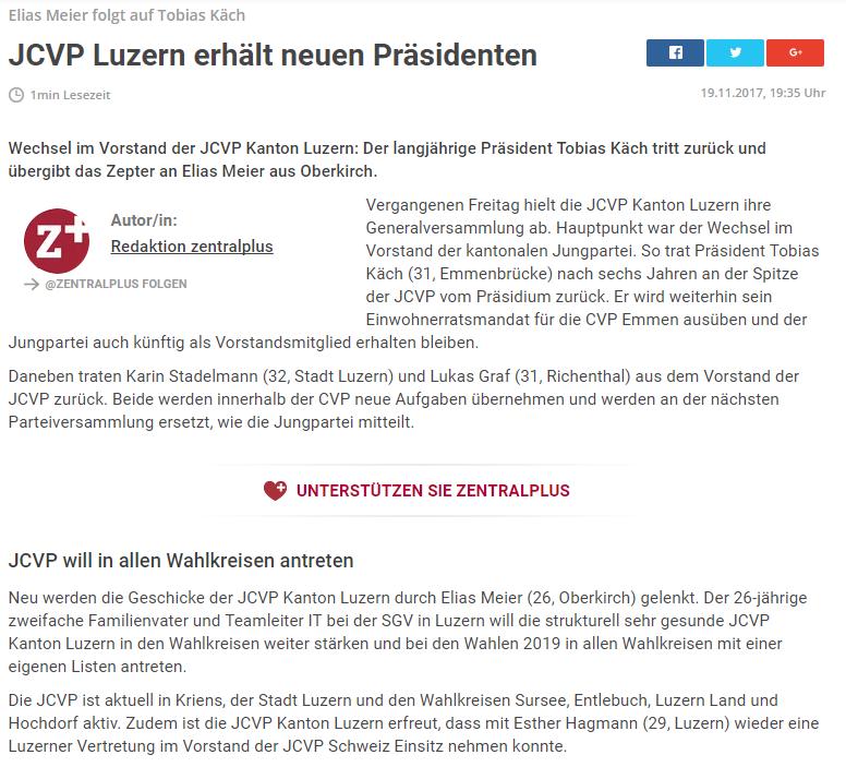 Zentralplus: JCVP Luzern erhält neuen Präsidenten