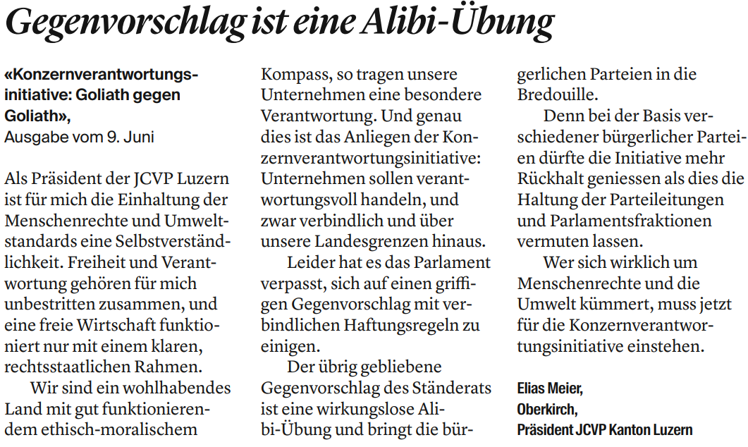 Leserbrief zur Konzernverantwortungsinitiative: Gegenvorschlag ist eine Alibi-Übung von Elias Meier, Präsident JCVP Kanton Luzern